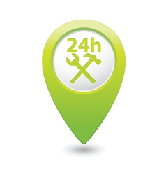 car service 24h icon on green pointer vector image vector image