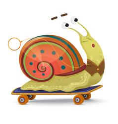 fast snail cute cartoon snail on a skateboard vector image