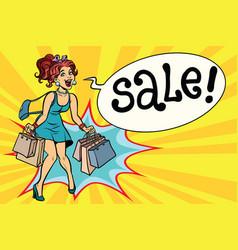 joyful woman hot sale pop art vector image
