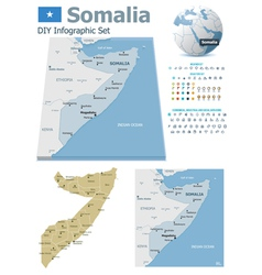 Somalia maps with markers vector image