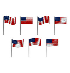 American flag set on white vector