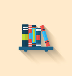 Colorful Different Books on the Shelf with Long vector image vector image