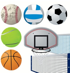 detailed sports equipment set vector image vector image