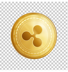 Golden ripple blockchain coin symbol vector