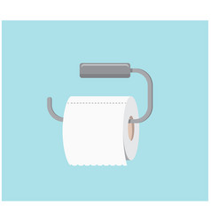 A roll of clean toilet paper hanging in the toilet vector