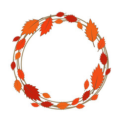 Abstract colorful fall leaves wreath vector