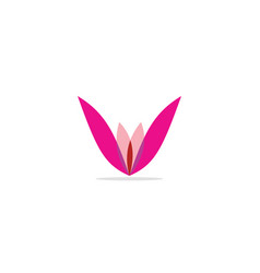 abstract flower v initial colored logo vector image