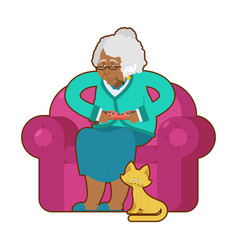 african american grandmother and joystick black vector image
