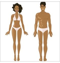 African American woman and man in underwear vector image