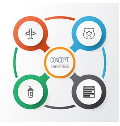 Airport icons set collection of drink cup vector