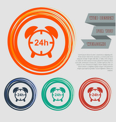 alarm clock icon on the red blue green orange vector image