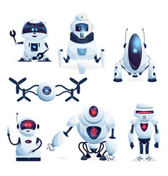Alien life robots future drones and android toys vector