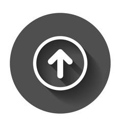 Arrow up icon forward arrow sign on black round vector
