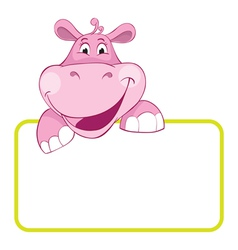 Bahippo cartoon label vector