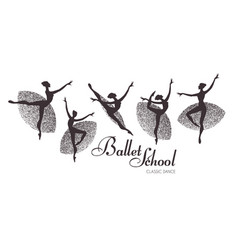 ballerina silhouettes set dancing girls classic vector image