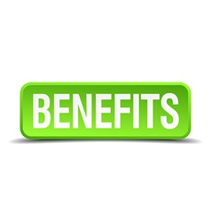 benefits green 3d realistic square isolated button vector image