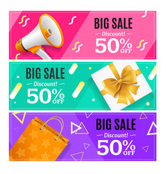 big sale banner card horizontal set vector image