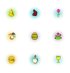 Bright Resurrection of Christ icons set vector