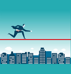 Businessman running on rope vector