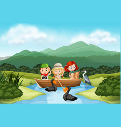camping children in the nature vector image