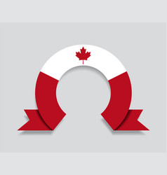 Canadian flag rounded abstract background vector