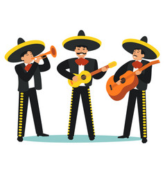 Cartoon color characters people mariachi band set vector