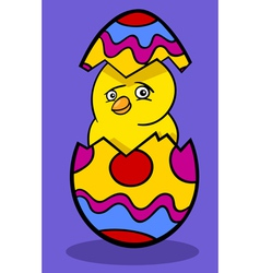 chicken in easter egg cartoon vector image