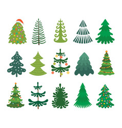 christmas tree set decorated xmas trees winter vector image