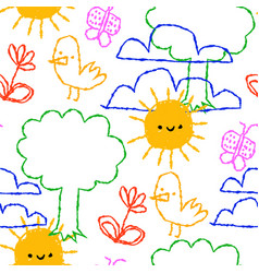 colorful children doodle cartoon seamless pattern vector image