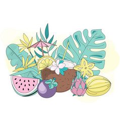 Colorful tropic fruits vector