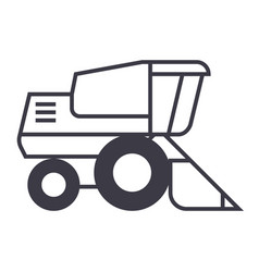 combine harvester line icon sign vector image