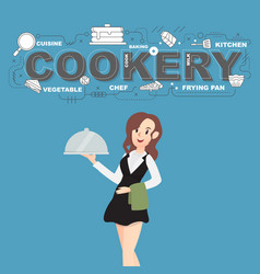 Cookery with napkin and food icons design vector