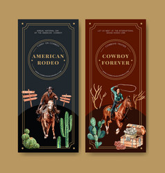 Cowboy flyer design with horse cactus chest money vector