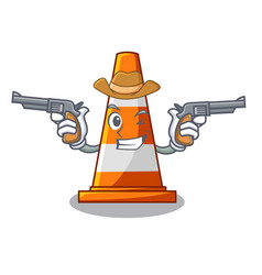 Cowboy traffic cone on road cartoon shape vector
