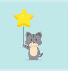 Cute cat holding balloon free vector