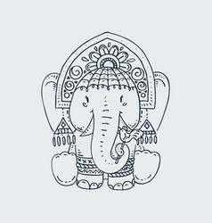 Cute circus elephant in a kokoshnik and bracelets vector