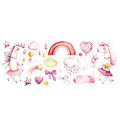 Cute unicorn baby girl watercolor nursery vector