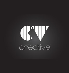 Cv c v letter logo design with white and black vector