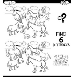 Differences color book with donkeys animal vector