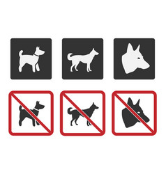 Dog friendly and dog restriction signs dog vector