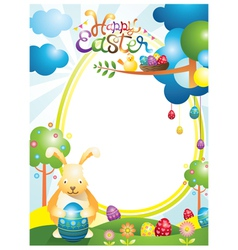 Easter with Bunny and Eggs Frame vector
