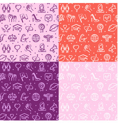 feminism signs seamless pattern background set vector image