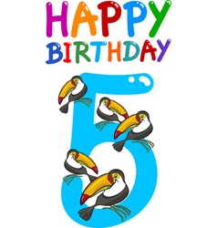 fifth birthday anniversary card vector image