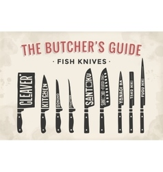 FIsh cutting knives set Poster Butcher diagram vector