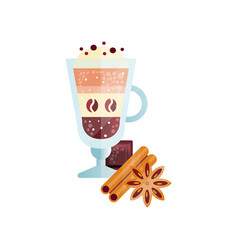 Fragrant coffee drink with whipped cream and vector