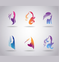 girls portraits with long beautiful hair vector image