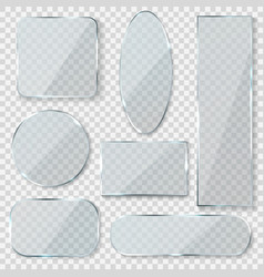 glass blank banners rectangle circle glass vector image