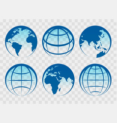 Globe blue earth icons vector