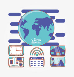 globe world with social media set icons vector image