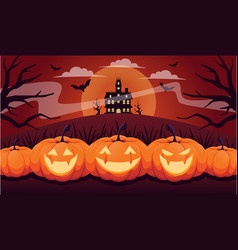 Halloween pumpkins spooky trees and haunted house vector